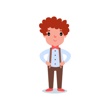 Cartoon character of little boy with red hair and freckles. Kid wearing fashion clothes brown pants with suspenders, shirt and red tie butterfly.