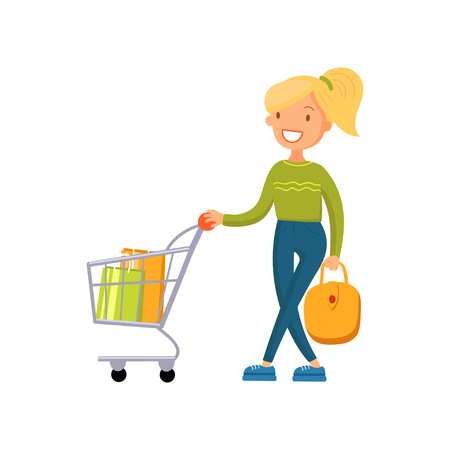 Smiling woman pushing shopping cart, girl shopping in a mall cartoon vector Illustration