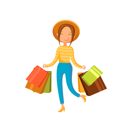 Young happy woman wearing in a hat with shopping bags, girl shopping in a mall cartoon vector illustration