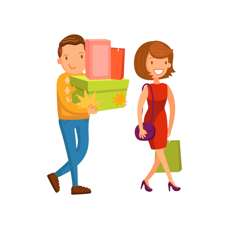 Happy couple shopping, family shopping in a mall cartoon vector Illustration Illustration