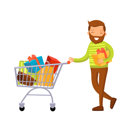 Smiling man with shopping cart full of purchases, male shopping in a mall cartoon vector Illustration
