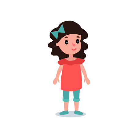 Little preschool kid with black hair posing in casual clothes red blouse, blue shorts and bow. Cartoon girl character. Colorful flat vector design