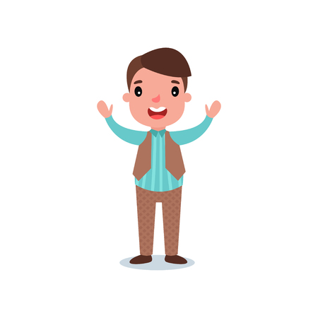 Happy preschool child dressed up in costume with striped shirt, brown pants and classic vest. Cartoon boy character standing with hands up. Flat vector design
