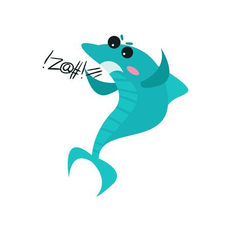 Cute swearing shark cartoon character, funny blue fish vector Illustration Illustration