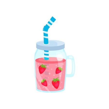 Cocktail de morango em frasco de vidro, ilustração do tempo de ilustração do tempo de verão Ilustração em um fundo branco Foto de archivo - 91381922