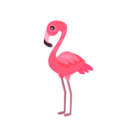 Pink flamingo, exotic bird summer time cartoon vector Illustration Иллюстрация