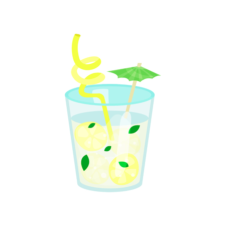 Summer tropical cocktail or lemonade cartoon vector Illustration on a white background