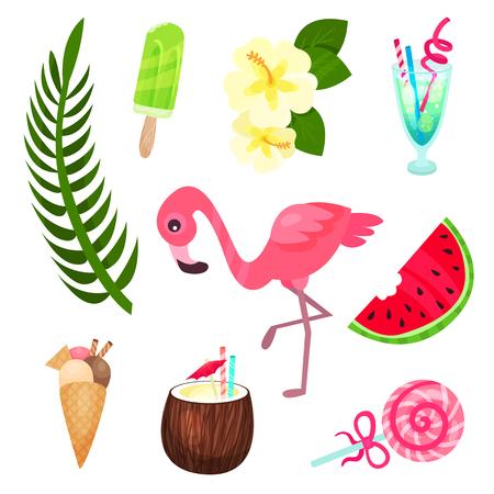Tropical summer time set, exotic elements for summer design vector Illustrations