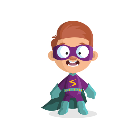 Cute funny boy character in colorful superhero costume.