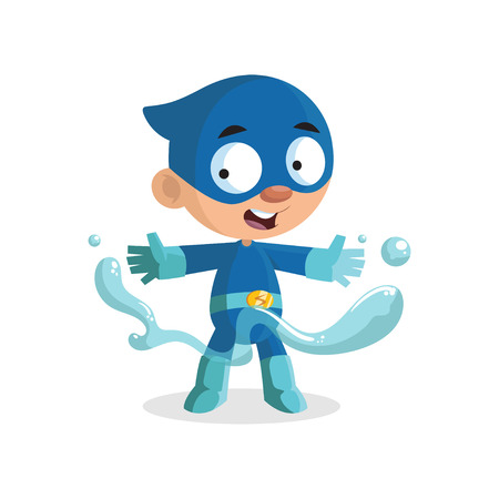 Cute funny superhero boy character in a blue costume and mask cartoon vector Illustration Vectores