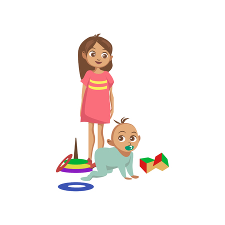 Toddler boy crawling on the floor, his sister standing next to him cartoon.