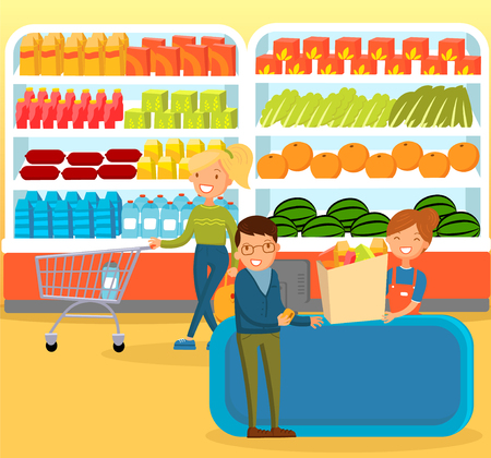 People shopping at supermarket, choosing products on the shelves and pushing carts, shopping mall interior vector Illustration, web design