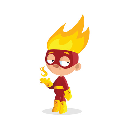 Superhero fire boy character cartoon vector Illustration on a white background