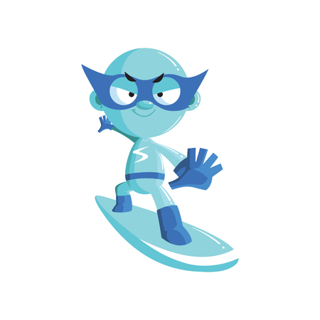 Superhero kid character in a blue costume and mask riding on a snowboard cartoon vector Illustration Vectores
