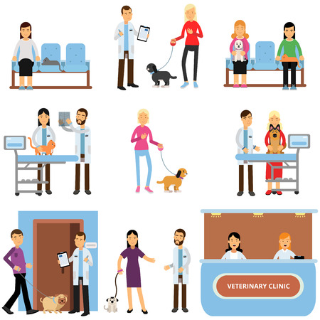 Vet clinic set, veterinary doctors examining dogs and cats, people visiting vet clinic with their pets cartoon vector Illustration Vettoriali