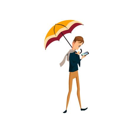 Man with phone standing under umbrella, rainy weather concept cartoon vector Illustration Illustration