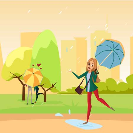 Smiling beautiful woman walking in the park under light blue umbrella, rainy weather concept cartoon vector Illustration