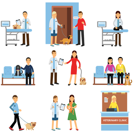 Veterinary clinic set, people visiting vet clinic with their pets, veterinary doctors examining dogs and cats cartoon vector Illustrations Vettoriali