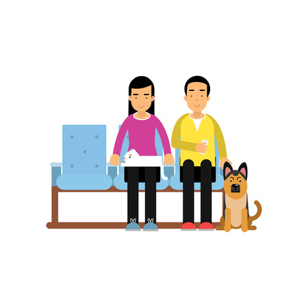 Young man and woman sitting in waiting hall with their pets and expecting for visiting a doctor, colorful cartoon vector Illustration Vettoriali