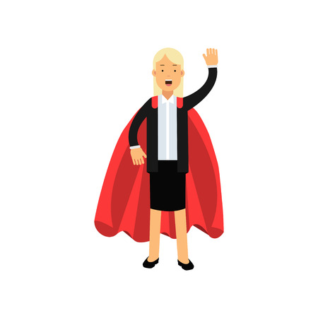 Cartoon blond woman character in black skirt suit with red superhero mantle. Cheerful business lady waving by hand. Team leader. Flat vector illustration