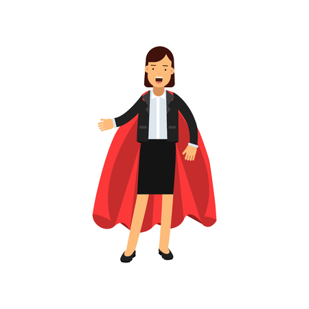 Full body portrait of business woman with red superhero cape. Successful lady in classic skirt suit. Cartoon female character. Occupation or career. Flat vector design