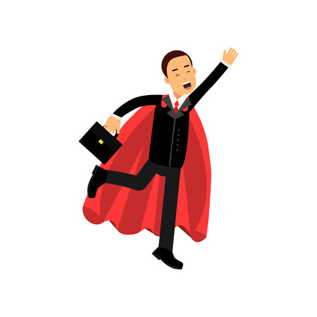 Cheerful male character with briefcase and superhero cloak in flying action. Business man in classic black costume. Purposeful office clerk. Flat vector illustration