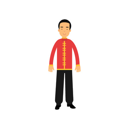 Male character in traditional chinese clothes. National costume. Smiling man wearing red jacket tunic with yellow buttons and black pants. Flat vector design Illustration