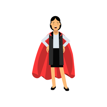 Confident business lady standing with arms akimbo in red superhero mantle. Cheerful woman character wearing formal suit. Successful office worker. Flat vector