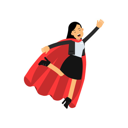 Young business woman with red cape flying up as superhero. Success and leadership concept. Cheerful female character in classic office suit. Flat vector illustration