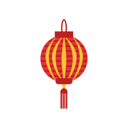 Traditional chinese paper lantern with little tassel. Lamp in round shape. Icon in red and orange colors. Flat vector element for logo, festival flyer or poster