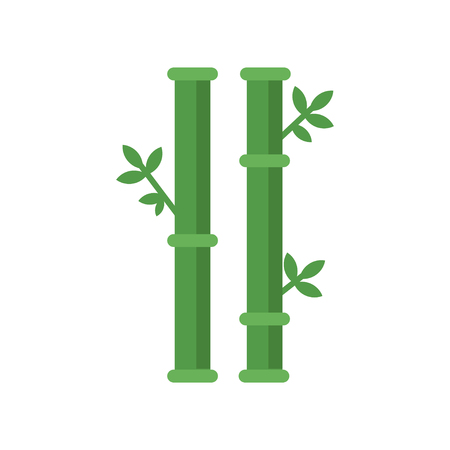 Chinese sticks of bamboo tree with green leaves. Nature concept. Graphic decoration element for spa logo, massage or beauty salon flyer. Flat vector icon Stock Illustratie