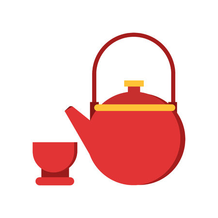 Icon of red teapot and cup. Tableware for traditional chinese tea ceremony. Asian culture concept. Isolated flat vector illustration
