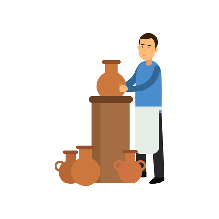 Young man potter in apron making ceramic pot. Smiling man artist. Clay jugs stand next to potter s wheel. Craft hobby or creative profession concept. Colorful flat vector character isolated on white.