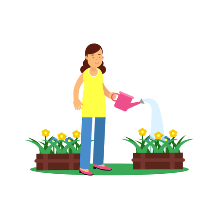 Illustration of cute brunette young girl character watering flowers. Smiling female taking care of potted plants. Gardening and floriculture, people hobby concept. Flat cartoon vector on white. Illustration