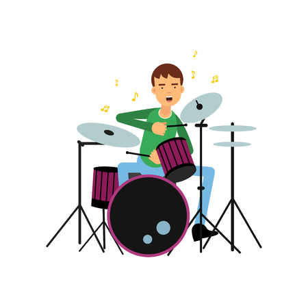 Boy playing drums. Children and adults creative hobby or profession concept. Artist young man musician. Musical performance. Vector illustration in flat cartoon style isolated on white background. Stockfoto - 91633615