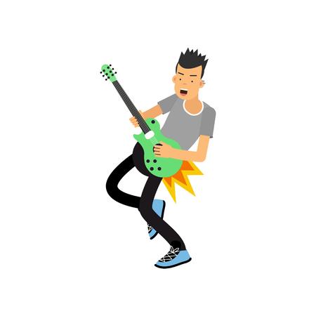 Jonge jongen speelt graag elektrische gitaar. Rock muziek gitarist. Hobby of creatief beroep concept. Gitarist rocker mannelijk karakter. Cartoon vlakke stijl vector illustratie geïsoleerd op wit