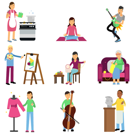 Creative set of adult people and their hobbies. Cooking, painting, playing guitar and bass, embroidery, knitting, sewing, sculpturing. Flat vector
