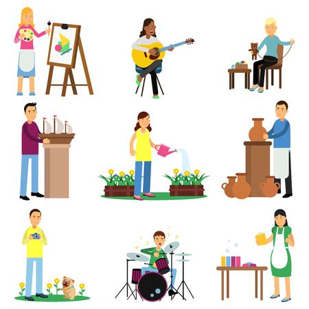 Kolorowy zestaw dorosłych ludzi i ich hobby. Malowanie, gra na gitarze, perkusja, szycie zabawek, ogrodnictwo, tworzenie modeli statków, ceramika, fotografia. Wektor postaci z kreskówek na białym tle. Ilustracje wektorowe