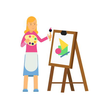 Young cartoon blonde woman character painting on canvas. Smiling female artist with palette and brush in hands drawing on an easel. Vector flat design illustration isolated on white background. Illustration