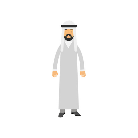 Arabian male character in traditional Muslims clothes. Bearded man in white national dress dishdasha and keffiyeh on head. Isolated flat vector illustration