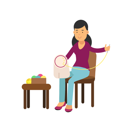 Illustration of young brunette woman sitting on the chair and embroidering on the canvas. Needlework concept. Vector character