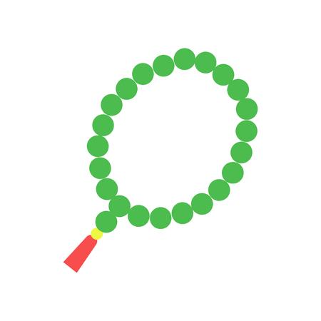 Colorido rosario musulmán con cuentas verdes y borla roja. Accesorio religioso, símbolo del Islam. Icono de vector plano de dibujos animados aislado en blanco Foto de archivo - 91633966