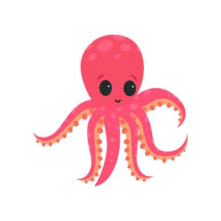 Cartoon pink octopus with big shiny eyes. Soft-bodied mollusk with six tentacles. Marine wildlife. Flat vector design getting card, print or network sticker  イラスト・ベクター素材