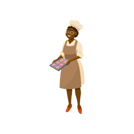 Cartoon lady cook holding tray with freshly baked cupcakes. Smiling black woman character in glasses, chef hat, dress and brown apron. Kitchen worker. Flat vector illustration isolated on white. Stock Illustratie
