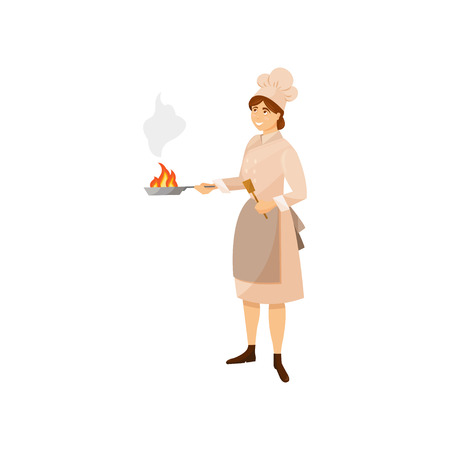 Colorful woman cook in kitchen uniform holding frying pan and wooden spatula in hands. Cartoon restaurant worker character. Food business concept. Flat vector illustration isolated on white background Vectores