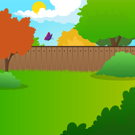 Cartoon backyard landscape with green meadow, bushes, trees, wooden fence, blue sky and flying butterfly. Summer nature background Flat vector design