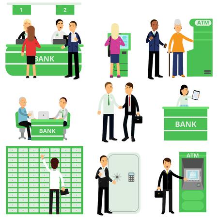 Aantal bankmedewerkers en hun klanten in verschillende situaties. Mensen stripfiguren in bankkantoor. Dienst voor beleggingsbeheer. Financiën en geld concept. Geïsoleerde platte vectorillustratie.