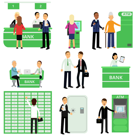 Set of bank workers and their clients in different situations. Cartoon people characters in bank office. Investment management service. Finance and money concept. Isolated flat vector illustration.