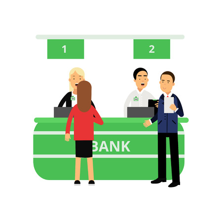Cheerful bank employees and clients at reception desk. Banking service concept. Cartoon women and men characters. Finance and money concept. Flat vector illustration isolated on white background.