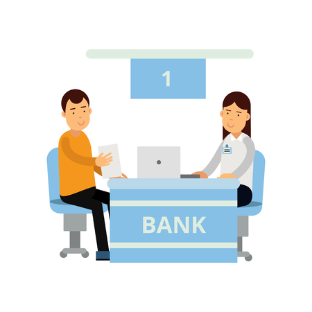 Young bank consultant using laptop for advises new client. Customer service. Finance and insurance concept. Cartoon people characters. Flat vector illustration